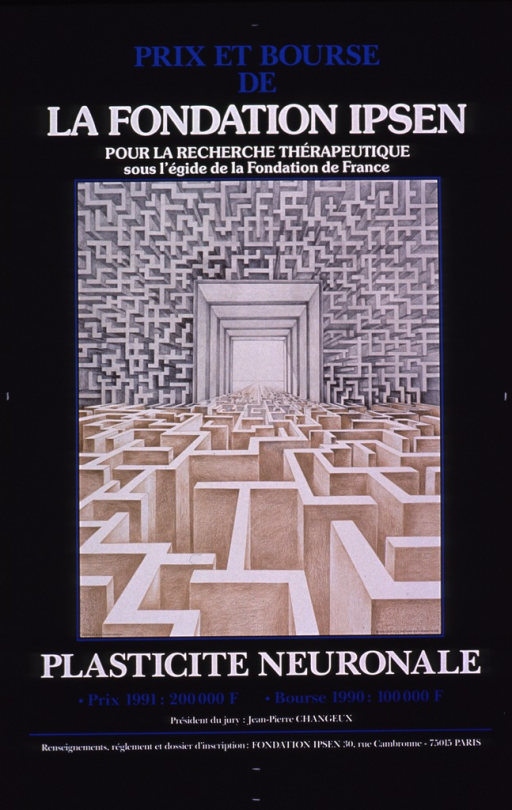 <p>Predominantly blue poster with blue and white lettering.  Initial title phrase at top of poster.  Visual image is an illustration of two mazes that intersect.  Remaining title phrase, prize details, and publisher information at bottom of poster.</p>