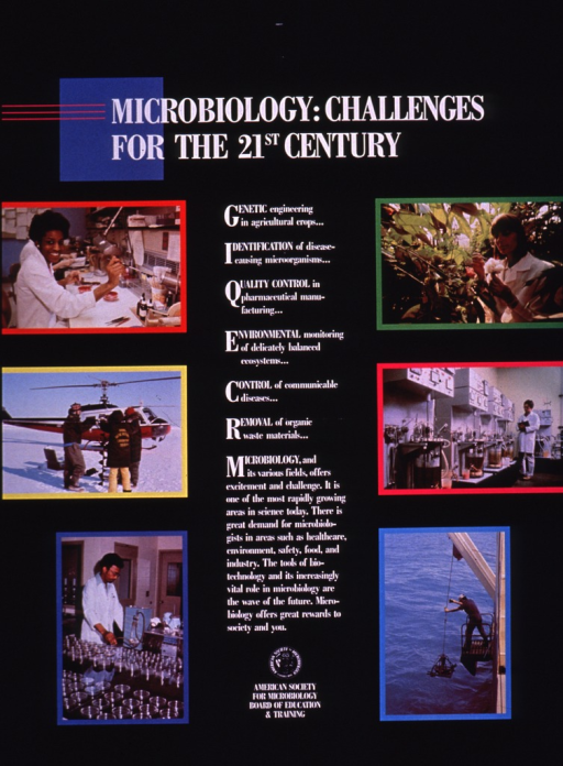 <p>Predominantly black poster with white lettering.  Title at top of poster.  Lengthy text in center of poster explains the field of microbiology and notes the demand for microbiologists.  Visual images are color photo reproductions showing people working in labs and various outdoor settings.</p>
