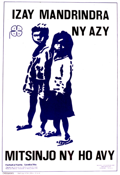 <p>White poster with blue and black lettering.  Title at top of poster.  Publisher logo below initial title word.  Visual image is an abstract negative print of a boy and girl.  Caption below image.  Publisher information in lower right corner.</p>