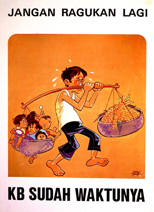 <p>Predominantly white poster with black lettering.  Title at top of poster.  Visual image is a color illustration of a man struggling to carry two baskets on a pole.  One basket contains wheat or grain; the other basket holds five children.  Caption below illustration deals with family planning.</p>