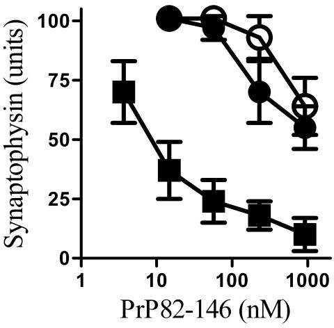 PLA2 inhibitors protected hippocampal neurones against PrP82-146 induced synapse degeneration. The synaptophysin content of cultured hippocampal neurones pre-treated with a vehicle control (■), 1 μM AACOCF3 (○) or 1 μM MAFP (●) and incubated with varying concentrations of PrP82-146 for 24 hours. Values shown are the mean average amount of synaptophysin ± SD, n = 9.