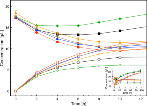 Time course of glucose and ethanol concentrations in SSF of spruce with the  strains investigated in
