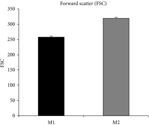 To exclude major differences in cell volume between M1 and M2 cells eventually accounting for the different ability to transmigrate, the forward scatter of M1 (black bar) and M2 (grey bar) cell was measured by flow cytometry. Despite M2 showing a statistically significant increased migration through the in vitro BBB compared to M1, their volume was slightly higher than that of M1 (310 versus 250 arbitrary unit) suggesting that cell volume was not responsible for the differences observed in transmigration.