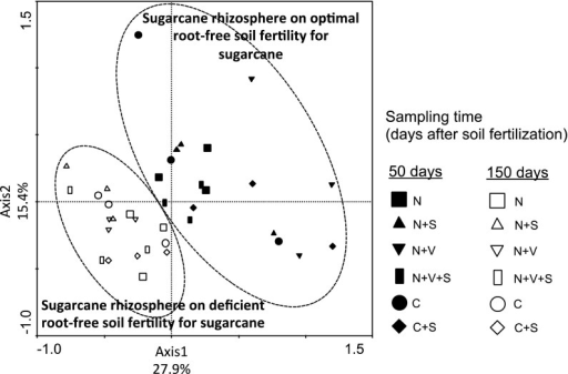 Principal component analysis-plot based on the structure of verrucomicrobial communities as determined by T-RFLP analysis in sugarcane rhizosphere soil collected from plants grown in a greenhouse mesocosm experiment and sampled on optimal and deficient root-free soil fertility for sugarcane
