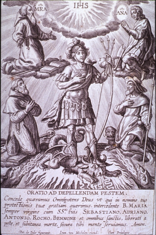 <p>Prayer sheet depicting Saints Adrian, Anthony, Benno, Roch and Sebastian; for use during times of plague.</p>