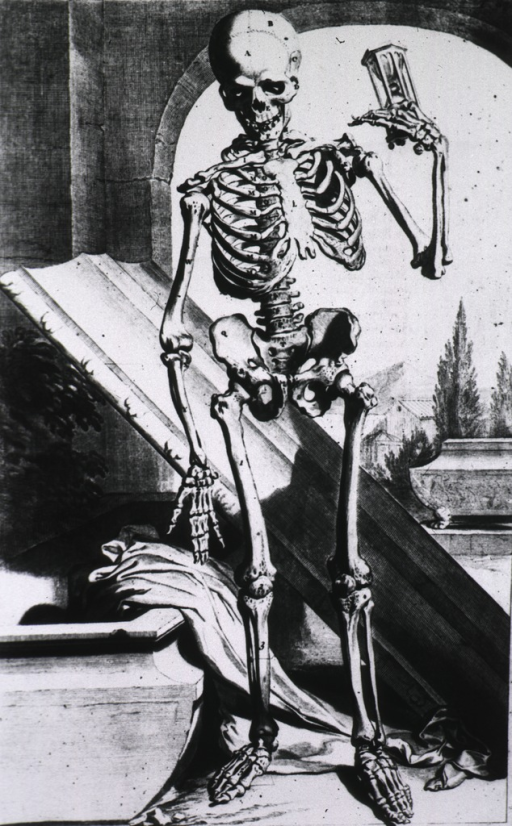 <p>Skeleton standing before open tomb, holding hourglass.</p>