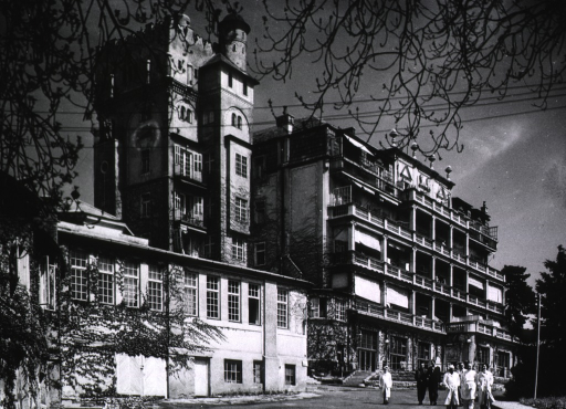 <p>Exterior view of hospital or sanatorium for the treatment of tuberculosis patients.</p>