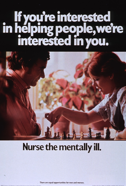 <p>Black and white poster with white and black lettering.  Initial title words at top of poster.  Visual image is a color photo reproduction showing a man and a woman playing chess.  There is a colorful houseplant in the background.  Remaining title words below photo.  Lower portion of poster is mostly blank, as if space for a recruiting notice.  Note and publisher information at bottom of poster.</p>
