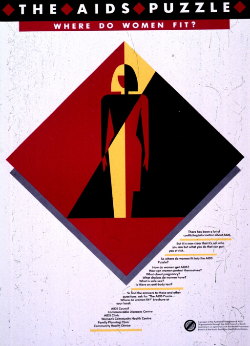 <p>White and magenta poster with black and white lettering.  Title at top of poster.  Visual image is an abstract illustration of a woman against a diamond-shaped background.  Text to lower right of illustration asks a number of questions about women and AIDS and directs reader to contact local agencies for a brochure.  Publisher and sponsor information in lower right corner.</p>