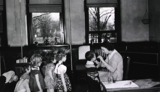 <p>Showing a dental hygienist inspecting children's teeth in a grade school classroom in Clarksdale, Mississippi, in 1939.</p>