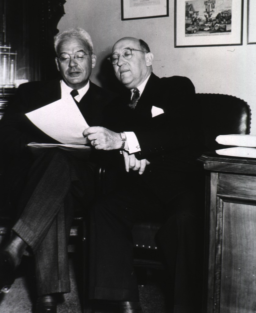 <p>Interior view:  Chauncey Leake and Morris Fishbein at the seventh annual meeting of the Association of the Honorary Consultants to the Army Medical Library.</p>