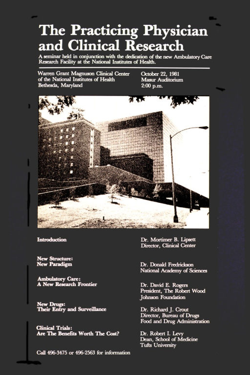 <p>Black poster with white lettering and a beige and black picture of the facility.  The date, time, and location of the seminar along with a phone number for further information are also listed.</p>