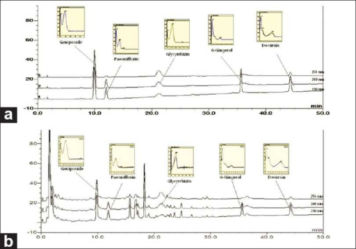 The HPLC chromatogram of the standard mixture (a) and Bangpuntongsung-san sample (b)