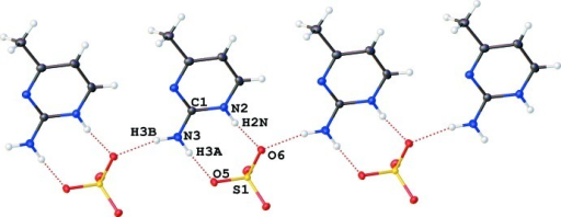 N—H···O hydrogen bonds and the R22(8) synthons (N2, N3, O5 O6).