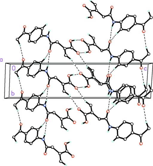 Molecular packing for C13H13NO4, viewed along the a axis. Dashed lines indicate O—H···O hydrogen bonds in an R22[8] motif format and weak N—H···O, C—H···O intermolecular interactions together linking the molecules into dimeric chains along [0 1 0]. H atoms not involved in hydrogen bonding have been removed for clarity.
