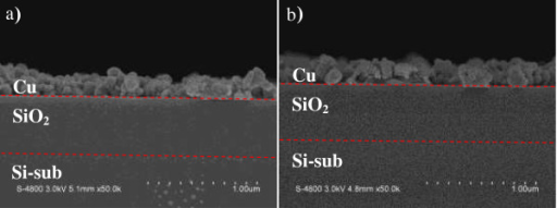 SEM image of the displacing Al with Cu (a) after 60 and (b) 70 s displacement reaction.