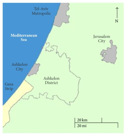 Map of Israel southern coastal area, showing Ashkelon District territory and location (reproduced with permission from The Israel Central Bureau of Statistics: http://gis.cbs.gov.il/benyam/).