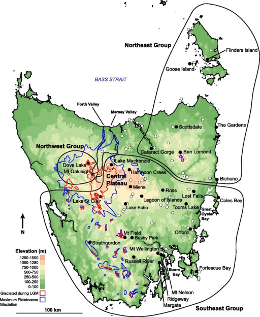 Topographic map of Tasmania indicating sampling sites for Niveoscincus ocellatus (filled circles) and species distribution records (open circles). The blue line bounds the maximum extent of Pleistocene glaciation, while that corresponding to the Last Glacial Maximum is bounded by the red line, based on [28]. Black lines demarcate groups defined on the basis of mtDNA variation, with the dashed black line indicating the ambiguous placement of the Lake Mackenzie population either within the Southeast group or on its own. Elevation data were obtained from Geoscience Australia