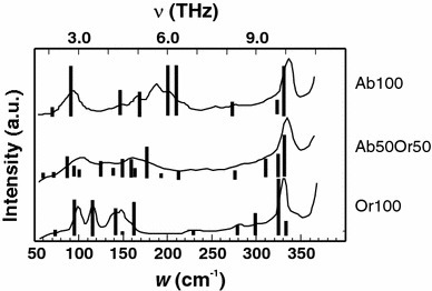 IR spectra in the low-frequency region. The abscissa is shown in units of wavenumber (w) as well as frequency (ν). Solid line measured by Zhang et al. (1996); Vertical bars DFT calculations