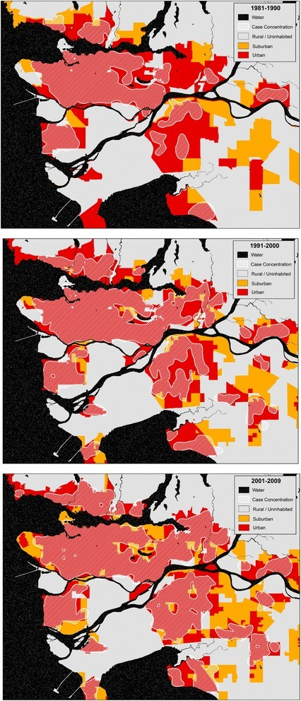 Oral cavity cancer case concentrations for Vancouver, by decade. Case concentrations (approximated by white hashed areas) are found to disperse from the urban cores in the 1980s to the surrounding areas in the 1990s and 2000s, including into lower-density suburban areas. This pattern is consistent throughout cities in British Columbia