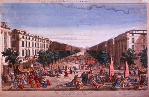 <p>Vista down a long boulevard in Marseilles in 1720, with plague victims in the foreground and along the boulevard.</p>