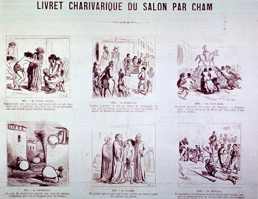 <p>Caricatures of various topics in six vignettes.</p>