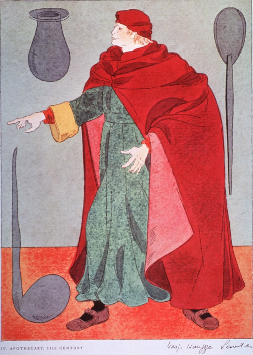 <p>Fifteenth century apothecaries' costume.</p>