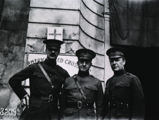 <p>Showing Perkins, Harvey D. Gibson, and an unidentified person; all half-length, front pose, full face; wearing uniforms and caps.</p>