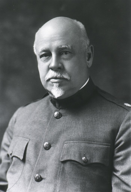 <p>Head and shoulders, full face.  In uniform, but without hat.</p>