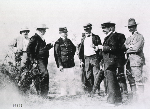 <p>In group with Major-General Leonard Wood, Cuba, 1898.</p>