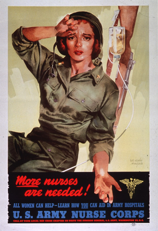 <p>Multicolor poster with red and blue lettering.  Visual image dominates upper portion of poster.  Image is a reproduction of a color painting of a nurse, dressed in fatigues and wiping her brow as if exhausted.  A glass I.V. bottle and a rifle are in the background on the right side of the poster.  Seal of the Army Nurse Corps below image, as is all text.</p>