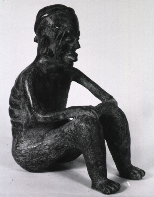 <p>Sculpture:  Seated old man with facial wrinkles, emaciated thorax, and prominent ribs and spine; hands resting on knees.</p>