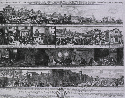 <p>Vignettes of Rome during the plague of 1656: religious processions, transportation of the sick, removal of the dead, nightly prayers, quarantined sections, and the impact on commerce are all depicted here.</p>