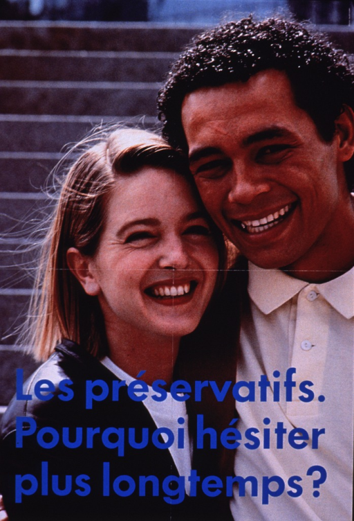 <p>Poster shows the photo reproduction of a young, smiling, male/female couple from the chest up. They are both dressed in casual clothing, posed side-by-side, and their heads are titled towards each other.</p>