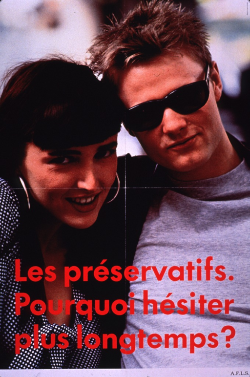 <p>Multicolor poster with red lettering.  Visual image is a color photo reproduction featuring a young, male-female couple.  Title superimposed on lower portion of photo.  Publisher information in lower right corner.</p>