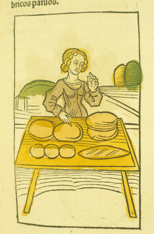 <p>Hand-colored woodcut of a woman preparing loaves of bread.</p>