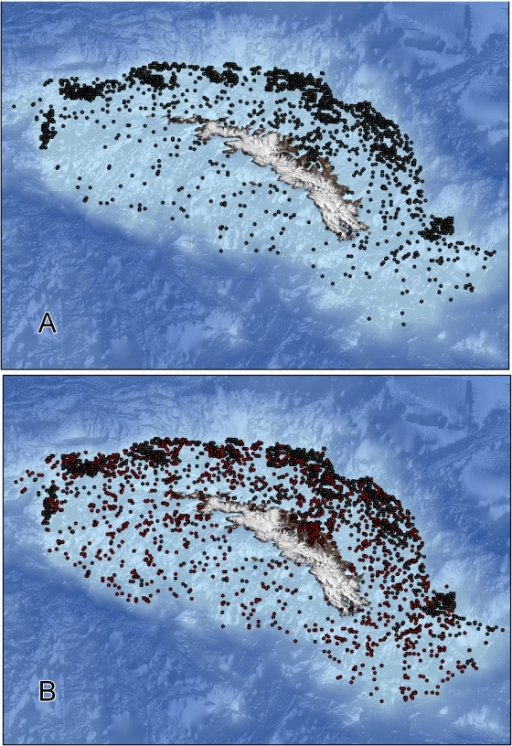 South Georgia Shelf sampling locations.(A) prior to the current study; (B) including data assimilated during this study (dots denoted in red).