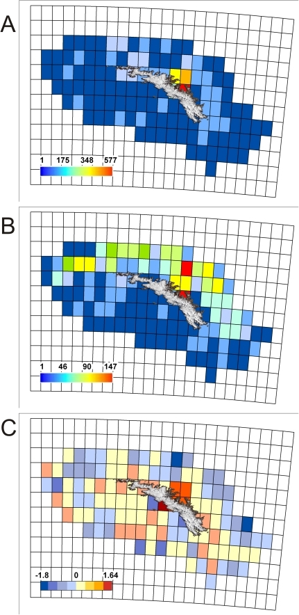 Total species and sampling distribution on the South Georgia shelf.(A) shows species richness; (B) Sampling intensity and (C) Linear regression residuals recorded in 0.25×0.25° grid squares across the South Georgia Shelf.