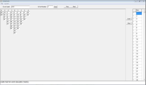 Sample data entry layout for the Q-sort data in PCQ for Windows.