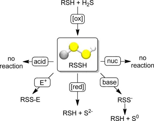 Reactivity of TrtSSHwith acids, electrophiles (E+),reductants ([red]), bases, or nucleophiles (nuc).