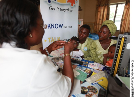 A couple attends a family planning counseling session in Ibadan, Nigeria.