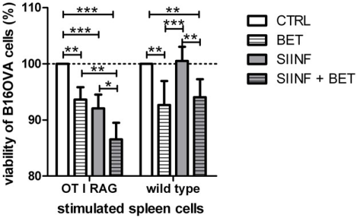 Cytotoxic effect of betulin in an antigen-specific B16OVA model system.B16OVA cell viability after treatment with prestimulated spleen cells (mean ± SD, n = 4). 1x105 B16OVA cells were treated with 3.2x106 spleen cells, isolated of OT I RAG mice or WT mice, respectively. The CD8+ OVA TCR+ effector T cell to B16OVA target cell ratio for OT I RAG cells is 7:1. The viability of the CFSE stained B16OVA cells was analyzed by FACS measurements. Significance was calculated using two-way ANOVA with a Bonferroni post-test.