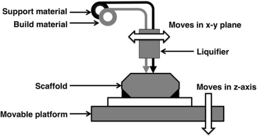 Scheme of fused deposition manufacturing (FDM). Melted polymer is extruded from nozzle to build scaffold