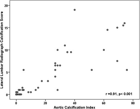 Scatterplot of the relationship between Lumbar Radiograph Measurement of Calcification and CT Determined Aortic Calcification Index