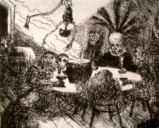 <p>A group of people are sitting around a table, one is wearing an elaborate headdress, others appear in costume; a skeleton is hanging from the ceiling over a steaming pot in the middle of the table.</p>