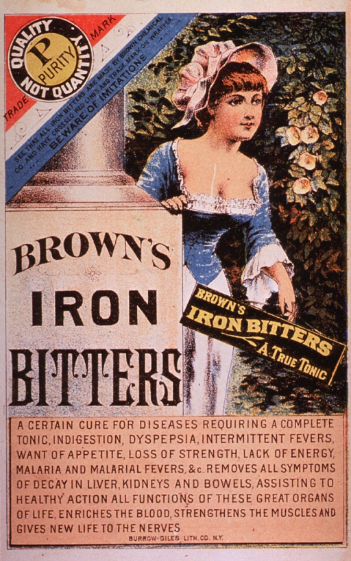 <p>This product contained cocaine.  Visual motif:  Shows young woman emerging from behind a pillar on which is written Brown's Iron Bitters.</p>