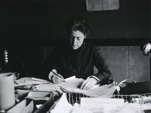 <p>Half-length, seated at desk; writing; full face.</p>