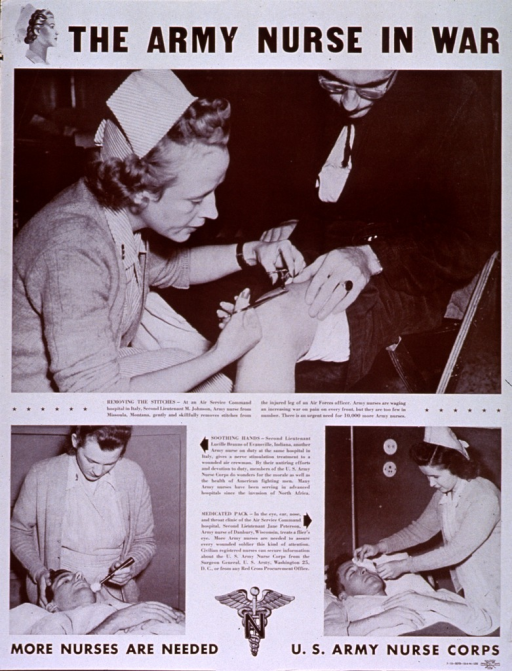 <p>White poster with black lettering.  Title at top of poster, along with an illustration of a nurse's head in profile.  Visual images are reproductions of b&amp;w photos showing nurses at an Air Services Command hospital in Italy.  Photo in upper portion of poster features a nurse removing stitches from an officer's leg.  Smaller photos in lower portion of poster depict a nurse administering a nerve stimulation treatment to an air crewman and a nurse placing a medicated pack on a flier's eye.  Each picture has a caption naming the nurse, her home town, and the procedure shown, as well as a statement about the role of nurses.  Note, seal for the Army Nurse Corps, and publishing information at bottom of poster.</p>