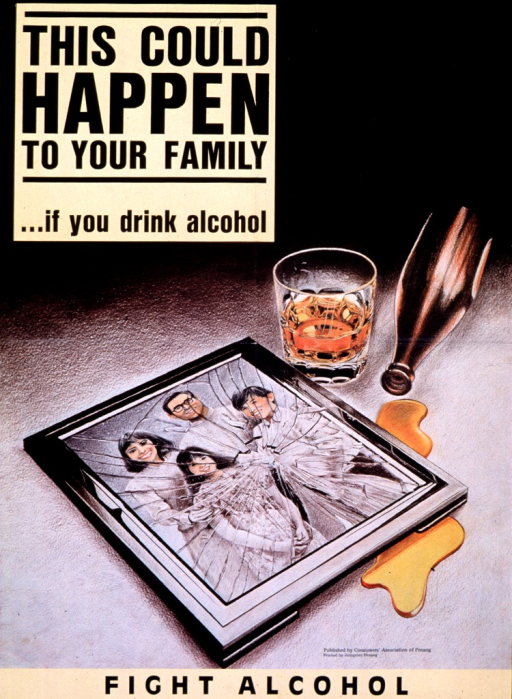 <p>Multicolor poster with black lettering.  Title in upper left corner.  Visual image is an illustration of a family photo in a shattered frame.  A drink and an overturned bottle are nearby.  Publisher information near lower right corner.  Caption at bottom of poster.</p>