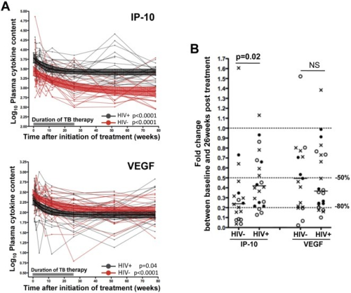 Comparison of the decrease rate of IP-10 and VEGF in TB+HIV− and TB+HIV+ individuals upon TB therapy. (A) Longitudinal plasma IP-10 and VEGF concentrations before, during and after TB therapy in TB+HIV− (Red) and TB+HIV+ (Black) individuals. Values were log-transformed. Median values with 95% CI for TB+HIV− (n = 20) and TB+ HIV+ (n = 22) individuals are depicted in red and black, respectively. A shaded grey box represents the duration of TB therapy. Statistical analyses were performed using random-effects linear regression. (B) Comparison of fold-changes in plasma IP-10 and VEGF concentrations between baseline and 26-week measurements (end of TB therapy) in TB+HIV− and TB+HIV+ subjects. Each dot represents one individual. Open circles correspond to individuals who presented with sputum conversion at ≤8 weeks, closed circles correspond to individuals who presented with sputum culture conversion between 12 and 26 weeks after TB therapy initiation and crosses identify individuals where sputum culture conversion occurred after 26 weeks post treatment. Doted lines depict 50% and 80% reduction of cytokine expression levels. Statistical analyses were performed using non-parametric Mann-Whitney U test.